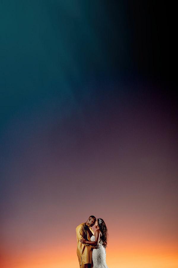 amazing sunset photo with blue light rays